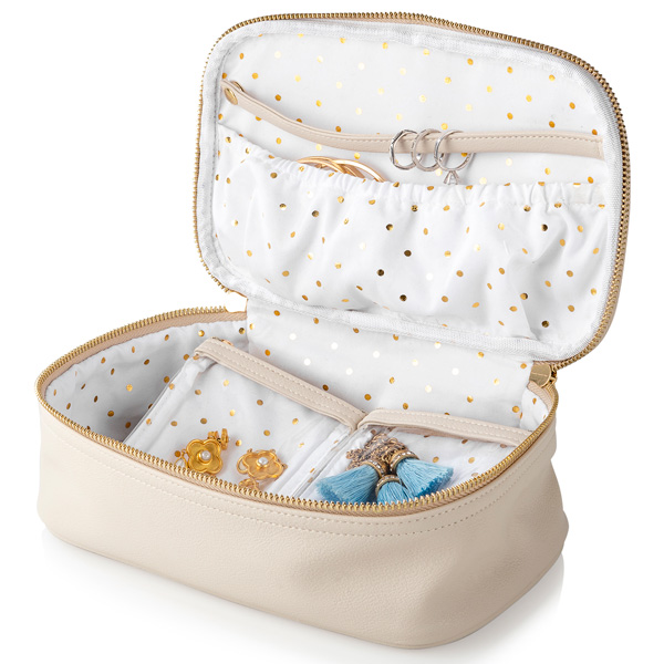 Personalized Beige Large Vegan Leather Travel Jewelry Organizer with gold polka dot interior and inside compartments