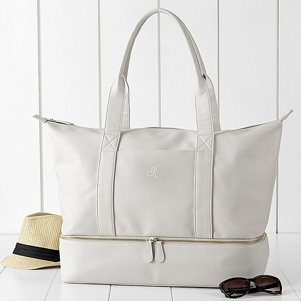 Personalized Beige Vegan Leather Weekender Travel Tote with script single initial