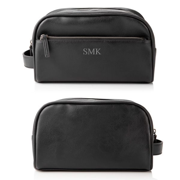 Front and back views of Personalized Black Vegan Leather Double Zipper Men's Travel Toiletry Bag