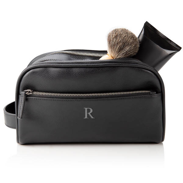 Personalized Black Vegan Leather Double Zipper Men's Travel Toiletry Bag with single initial