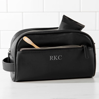 Personalized Black Vegan Leather Double Zipper Men's Travel Toiletry Bag with three custom initials