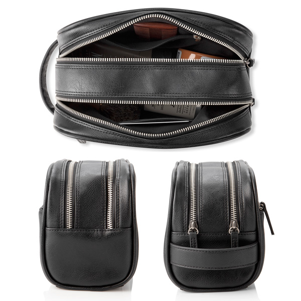 Side and top views of Personalized Black Vegan Leather Double Zipper Men's Travel Toiletry Bag