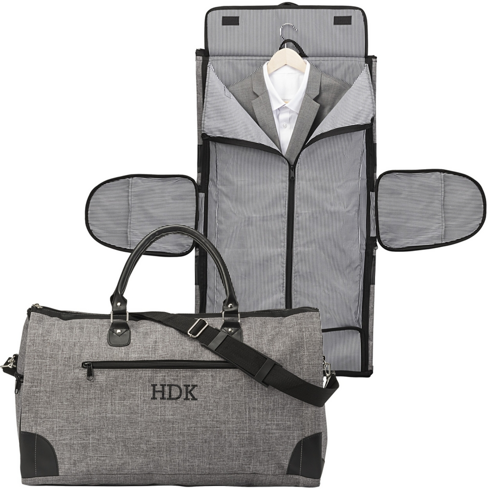 Gray crosshatch convertible carry on garment bag personalized with large single initial shown in open and closed positions