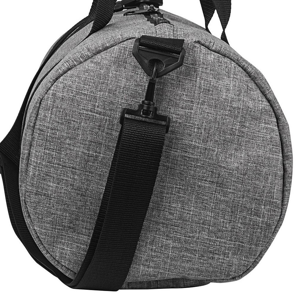End view of men's personalized grey crosshatch duffel bag with black and grey pinstripe interior