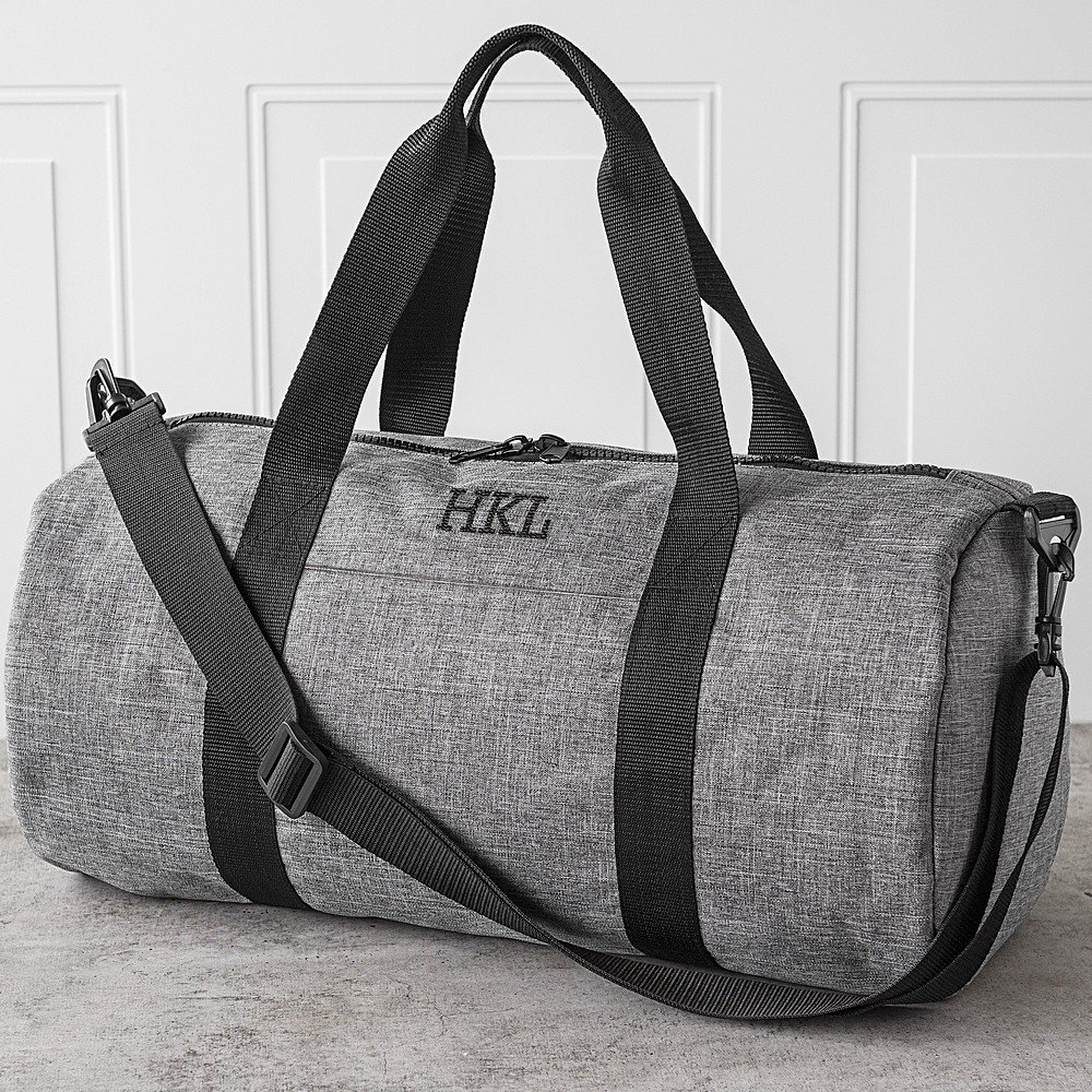 Men's grey crosshatch duffel bag personalized with 3 initials