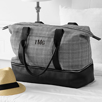 Personalized Glen Plaid Luggage Travel Tote embroidered with three-letter monogram in black thread color
