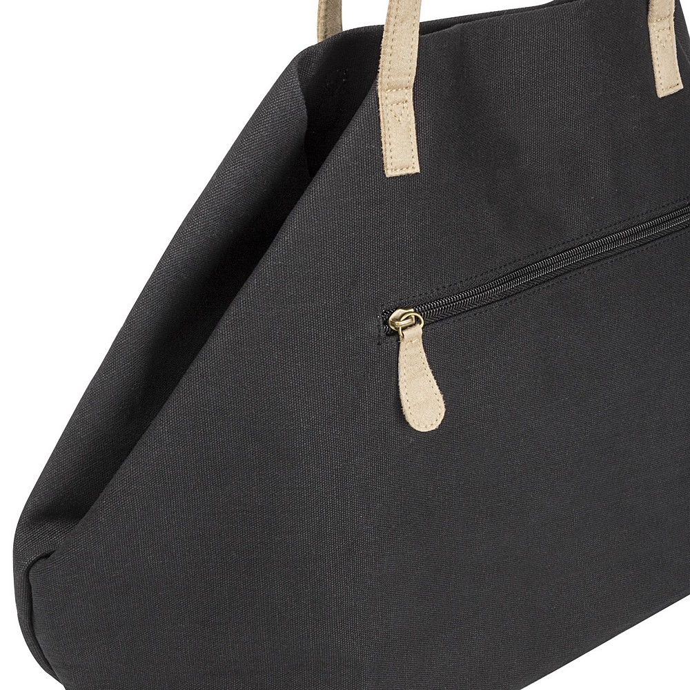 Side view of folded geometric black canvas overnight bag