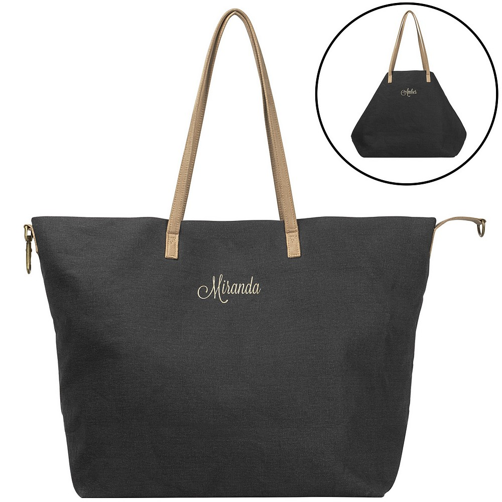 be4a9ef9af08 Womens Overnight Bag | Black Canvas Geometric Personalized
