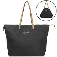 Personalized geometric folding black canvas overnight bag