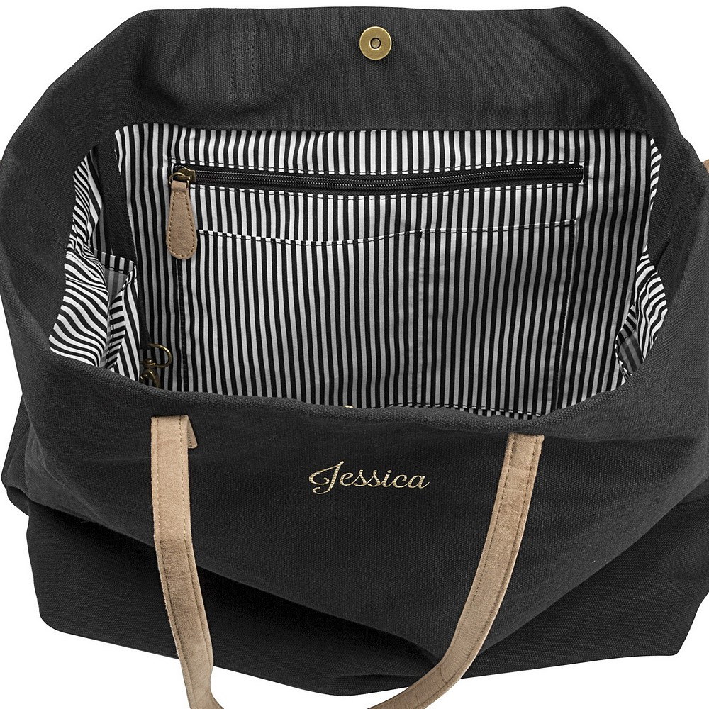 Top interior view of personalized geometry black canvas overnight bag