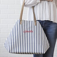 Personalized geometric folding white and navy blue stripe cotton canvas overnight bag