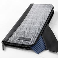 Personalized glen plaid travel tie case with three initials