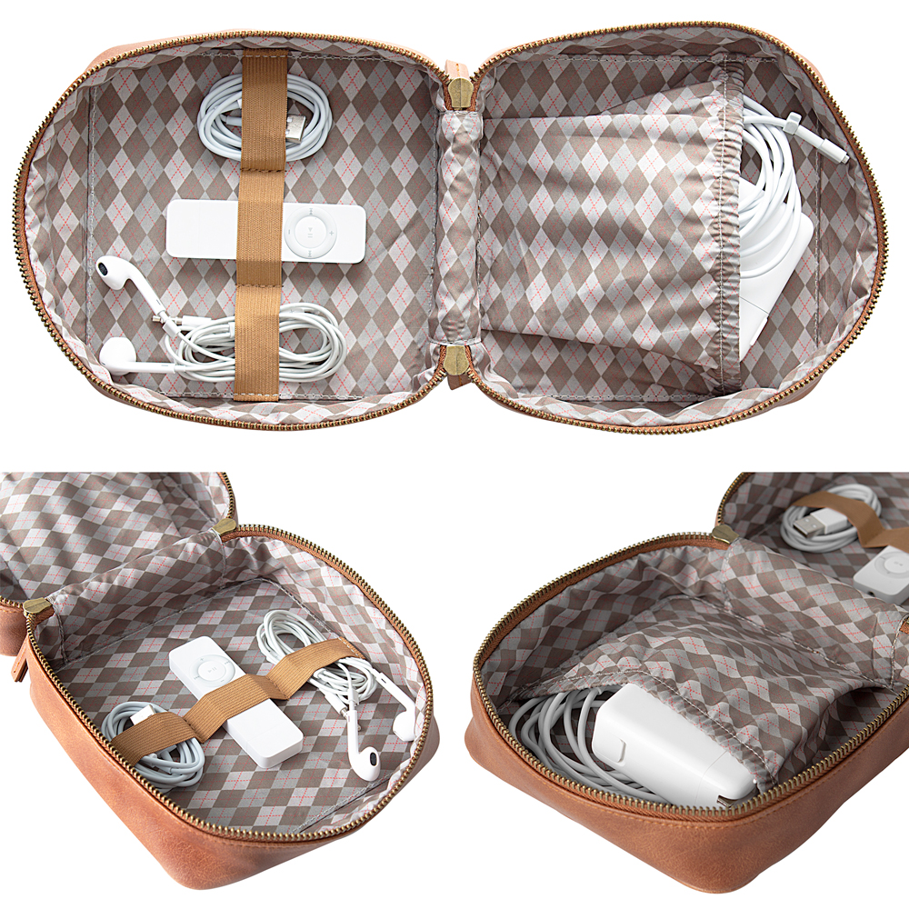 Interior view of brown vegan leather travel tech case, showing pocket and elastic bands for keeping electronic essentials organized