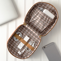Personalized Brown Vegan Leather Travel Tech Case open to show elastic bands and pocket for storage