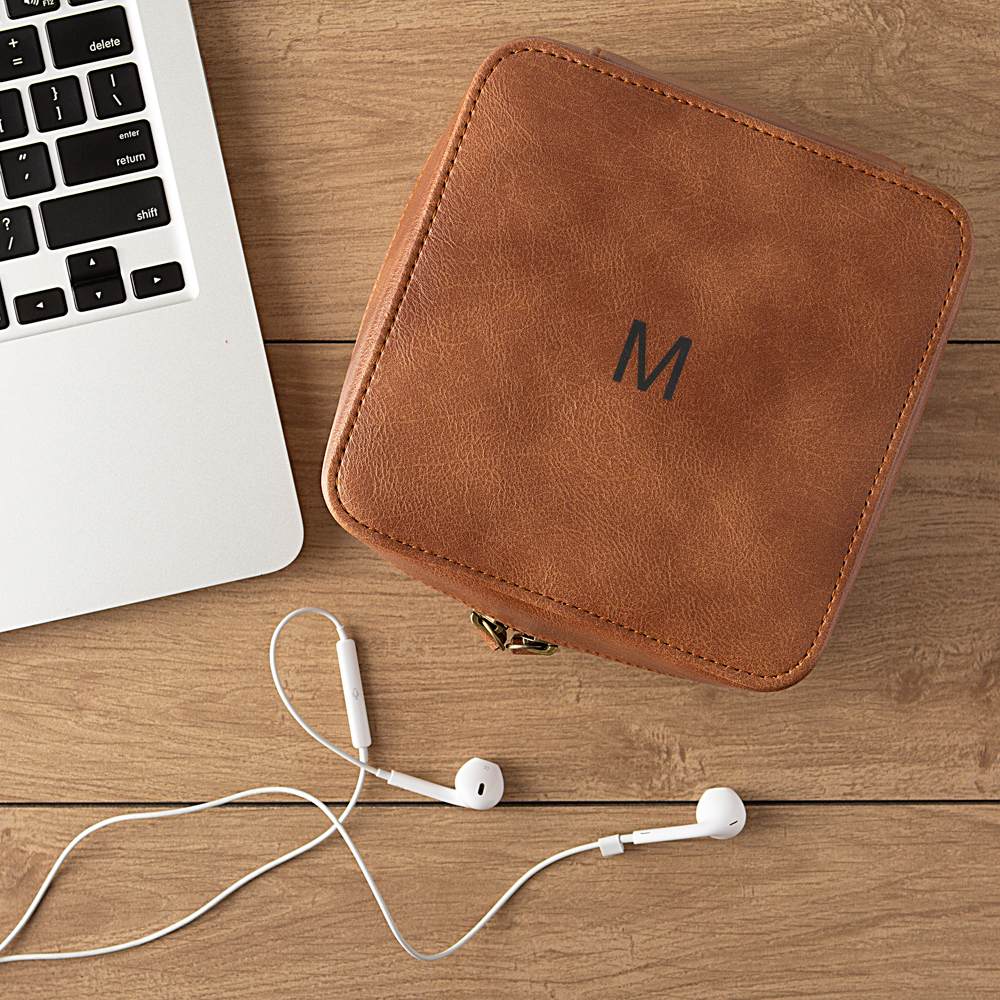 Personalized brown leather travel tech case with single initial