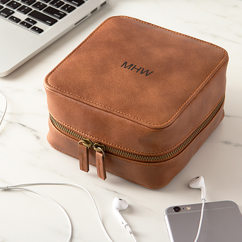 Personalized brown leather travel tech case with 3 initials