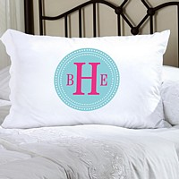 Chic Circles monogrammed pillowcase in hot pink on aqua