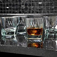 4 Piece personalized 10 ounc square rocks whiskey glass set