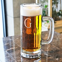 Tallboy beer mug with engraved monogram initial