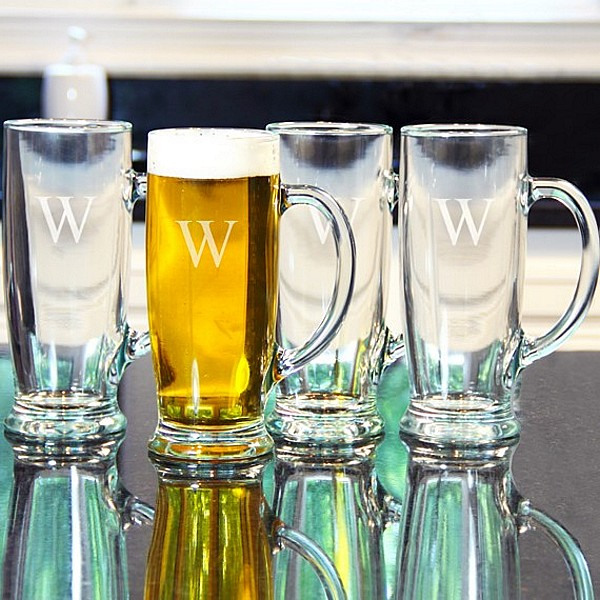4 pc  personalized 18 oz craft beer mugs set