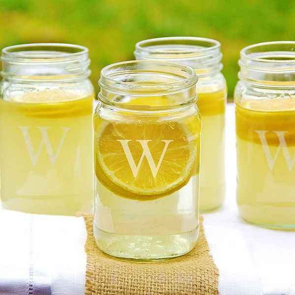 Mason drinking glass jars engraved with a single block monogram initial