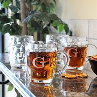 classic beer tankards with engraved intitial
