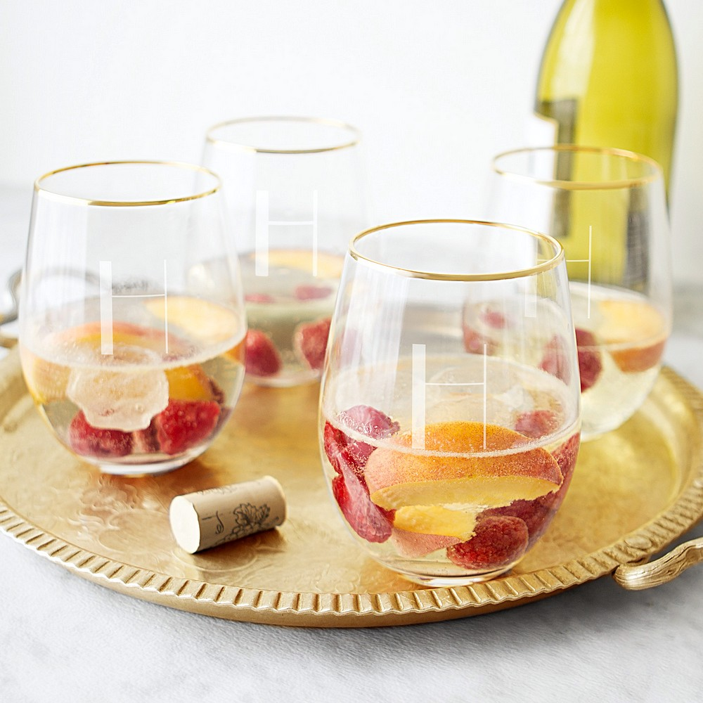 Personalized 19 oz gold rim stemless wine glasses