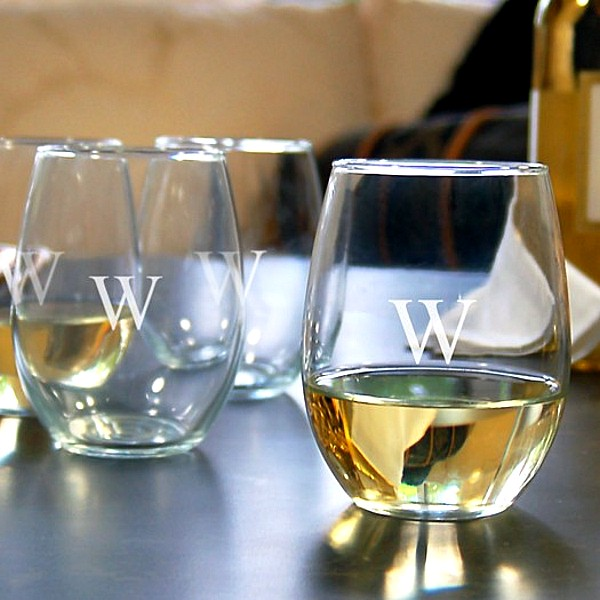 Stemless wine glass engraved with a single monogram initial