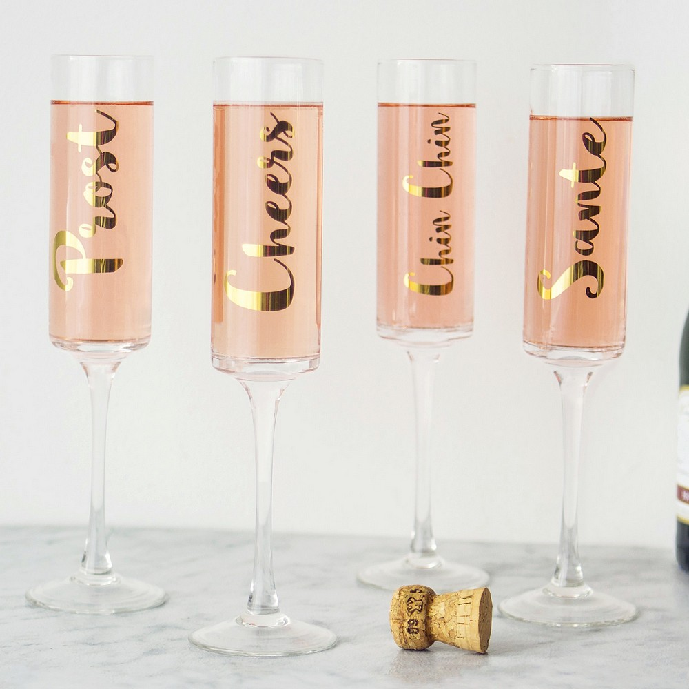 Custom printed phrases on 8 oz. gold cheers contemporary champagne flutes