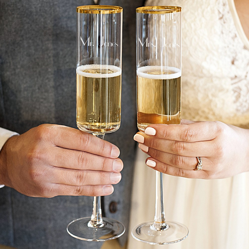 Personalized 8 oz. gold rim contemporary champagne flutes