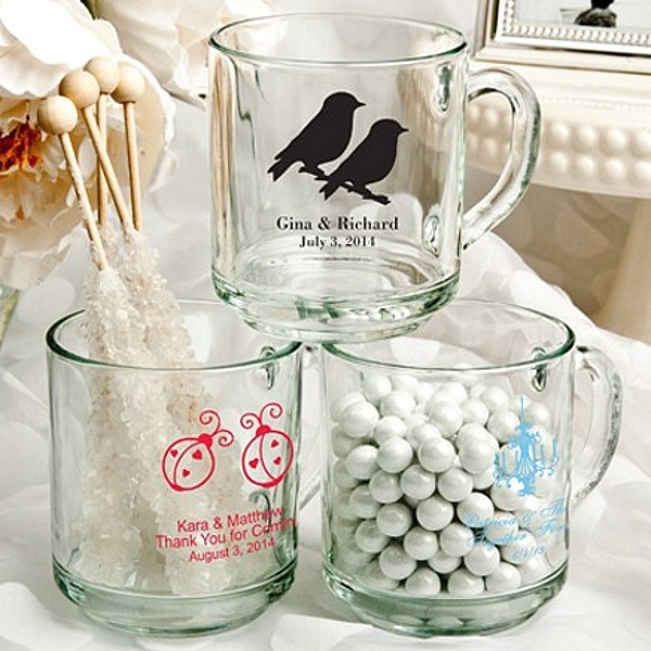 10 Ounce clear glass coffee mug favors personalized with wedding designs and 3 lines of custom print