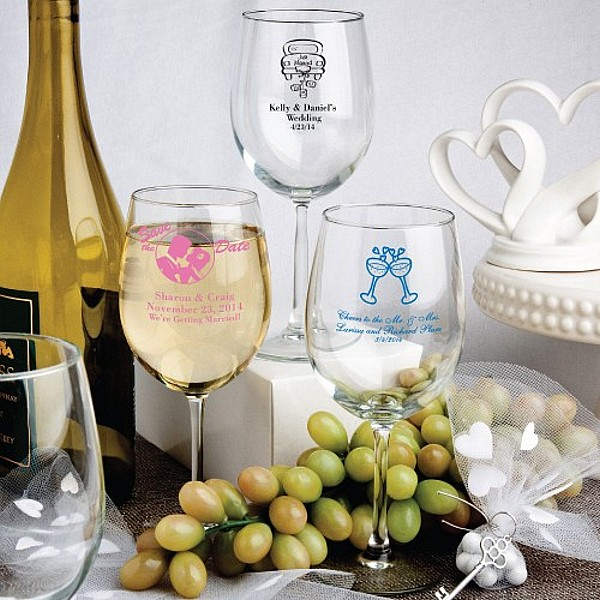 12 Ounce white wine glass favors personalized with wedding designs and 3 lines of custom print