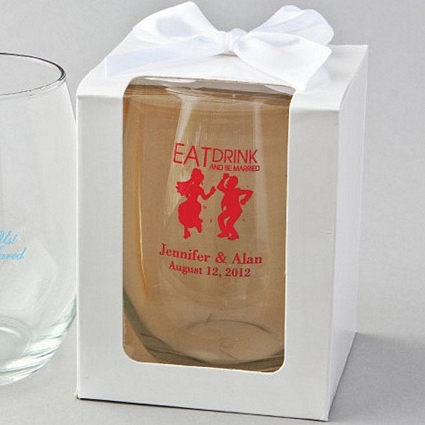 Personalized 15 Oz. stemless wine glass favor in optional white gift box
