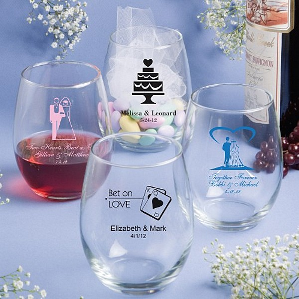 15 Ounce stemless wine glass favors personalized with wedding designs and 3 lines of custom print