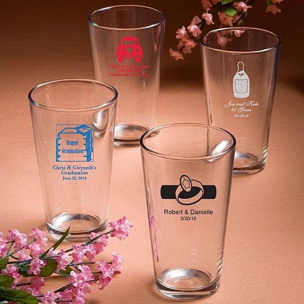 16 Ounce clear pint mixing glass favors personalized with wedding designs and 3 lines of custom print
