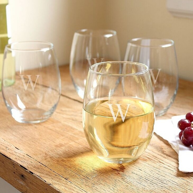 Set of 4 21 ounce stemless wine glasses personalized with large single initial