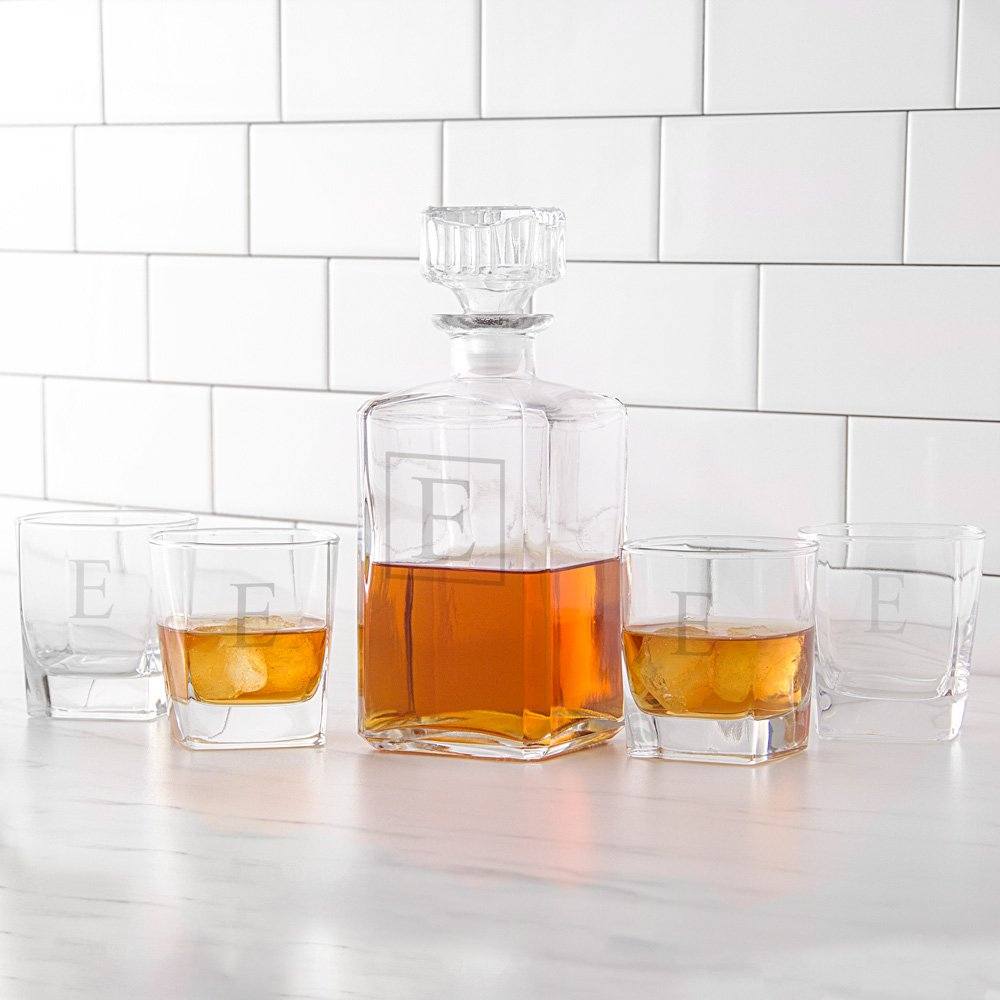 5 Pc. Square glass whiskey decanter and glasses gift set