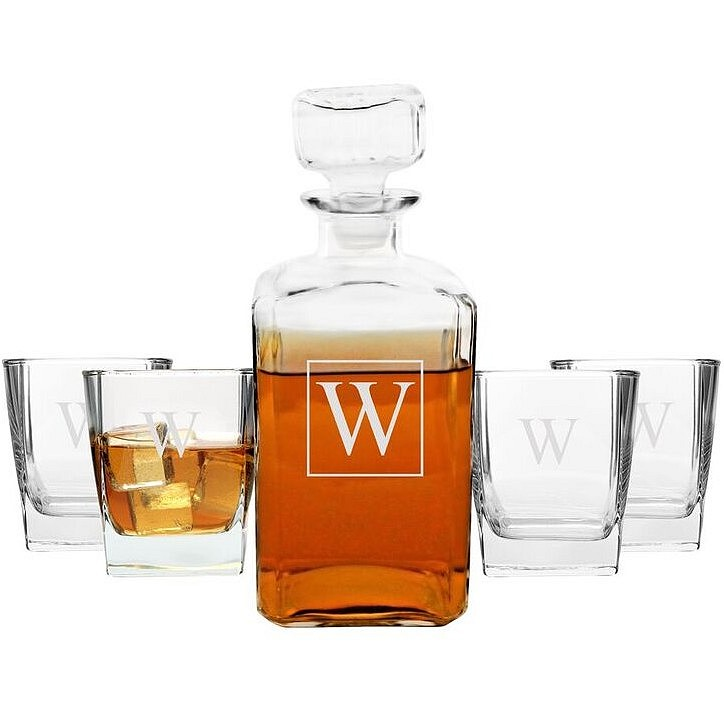 5 Piece glass whiskey decanter and rocks glasses set personalized with large single initial