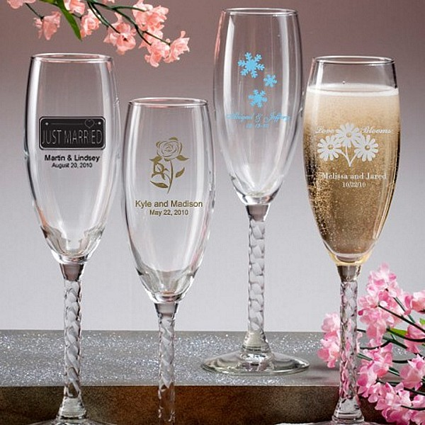 6 Ounce braided stem glass champagne flute favors personalized with wedding designs and 3 lines of custom print