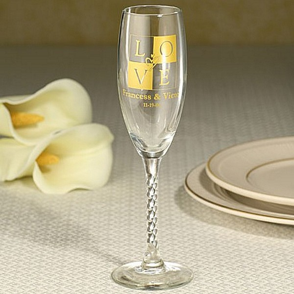 6 Ounce braided stem champagne flute personalized with LOVE square design and custom text in yellow imprint color