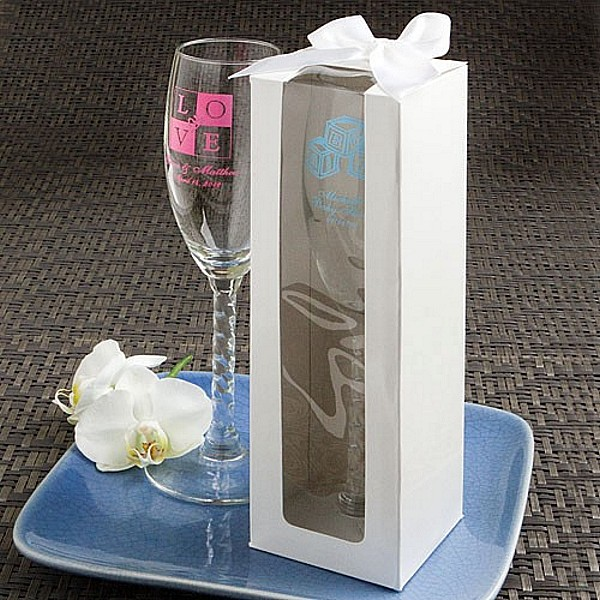 Personalized 6 oz. champagne flute favor in optional white gift box