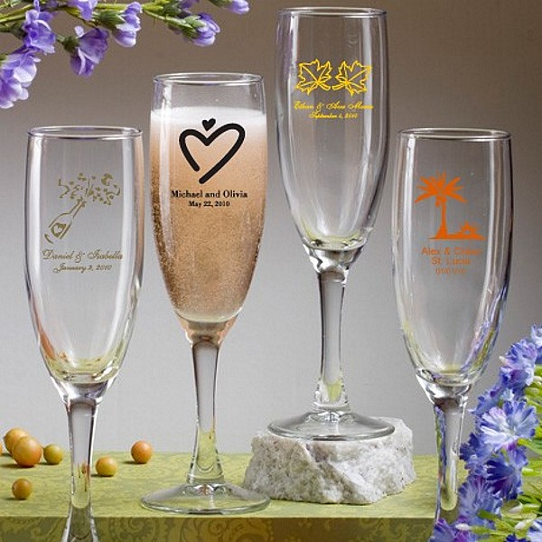 6 Ounce smooth stem glass champagne flute favors personalized with wedding designs and 3 lines of custom print