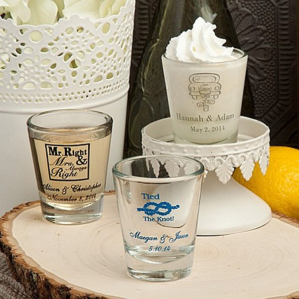1.75 Ounce shot glasses personalized with wedding designs and custom print