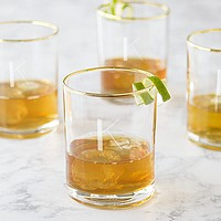 4 Pc. gold rim whiskey glasses set personalized with single initial K