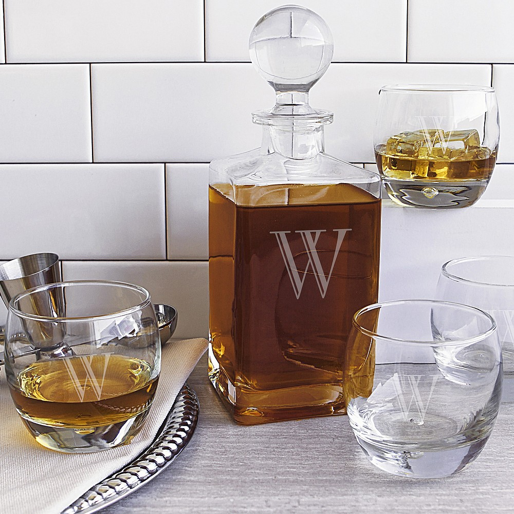 5 Piece personalized whiskey decanter & glasses set on wet bar