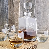 5 Piece personalized whiskey decanter & glasses set