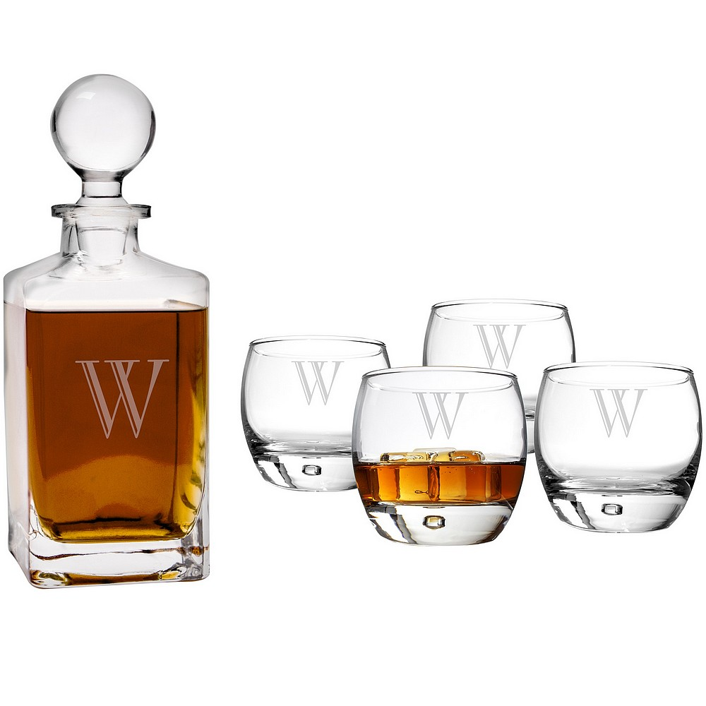 square whiskey decanter and 4 round weighted bottom whiskey glasses personalized with large single initial