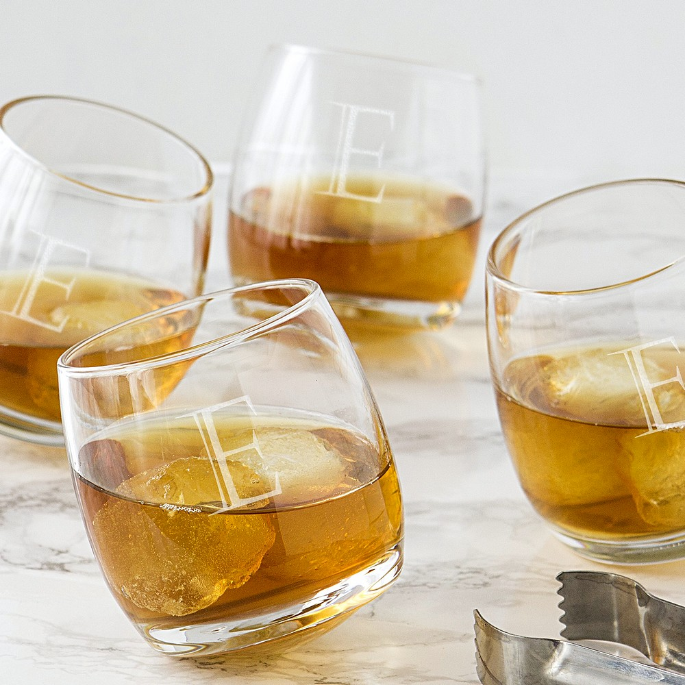 4 tipsy whiskey glasses with large single initial E