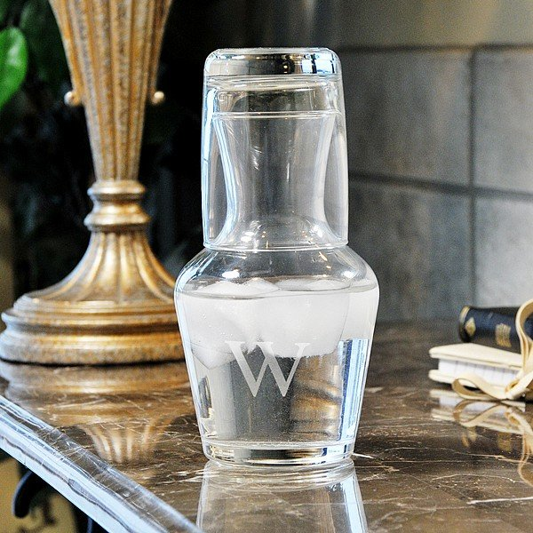 16 oz  monogrammed glass water carafe and drinking glass set