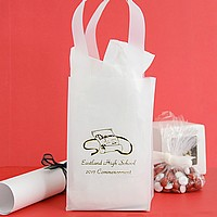 Clear frosted mini graduation favor bag printed with metallic gold imprint color, Coronet lettering style, and graduation design diploma